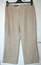 MARC AUREL UK10 EU36 STONE/WHITE STRIPED CROP TROUSERS IN 100% LINEN