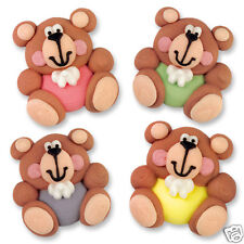 EDIBLE ICED FLAT SUGAR TEDDY BEAR CAKE DECORATIONS - PINK GREEN MAUVE YELLOW