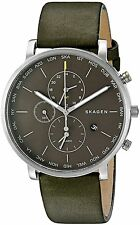Skagen Men's SKW6298 Hagen World Time and Alarm Chronograph Green Leather Watch