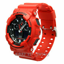 CASIO G-SHOCK RED WITH BLACK DIAL CHRONOGRAPH NEW GA-100B-4AER FREE UK POSTAGE
