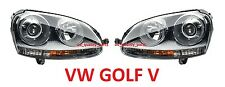 VW Golf V MK5 Jetta III Black Projector Xenon Headlights Headlamps Set Pair D2S