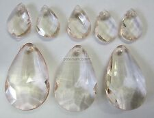 8 x Acrylic Prism Faceted Teardrop Bead Mix In 36mm & 20mm Nude Pink TAR021