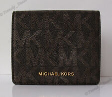 $88 Michael Kors Monogram Jet Set Travel Carryall Card Case Wallet Brown/Gold