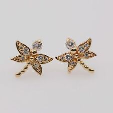 Pretty Cute Dragonfly White CZ 18k Yellow Gold Plated Rhinestones Stud Earrings