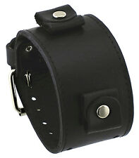 Nemesis LBB-KK 24 mm Lug Width Black Wide Leather Cuff Wrist Watch Band