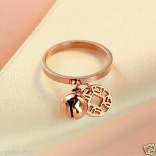 14K Rose Gold Plated Stainless Steel Women Lady Coin Bell Charm Nail Ring