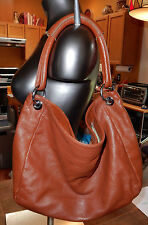 DUDU DESIGNER Brown Pebbled LEATHER Quality Slouchy HOBO STYLE BAG