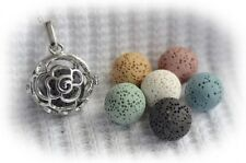 Rose Essential Oil Aromatherapy Diffuser Necklace with 6 lava stones!