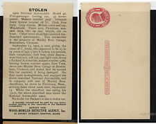 US  wanted  card  for  1910 stolen car National Automobile , interesting item