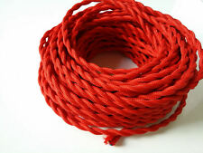 RED ANTIQUE BRAIDED/WOVEN SILK/FABRIC LAMP CABLE/WIRE/CORD LIGHT/ELECTRIC FLEX