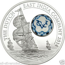 Royal Delft Dutch East India Company - Silver Coin 10$ Cook Island 2014