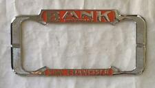 Bank Chevrolet Dealer License Plate Frame San Francisco, CA Restored 1940-Curr