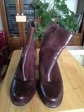 Indigo by Clarks Womens 8M Dk Brown Leather Equestrian Style Ankle Boots Zip