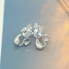 Cat Kitten Studs New Jewelry 925 Sterling Silver 7mm Crystal Stud Earrings