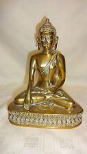 Stunning Vintage Heavy Cast Brass Detailed Sitting Buddha Figure - 1.26kg
