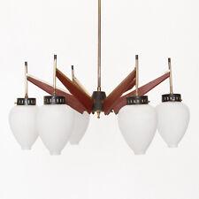 Lampadario anni '50 ottone, vetro e legno, nello stile Arredoluce, 50s brass