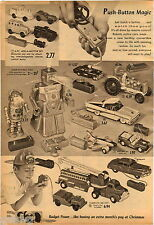 1958 ADVERT 2 PG Remote Control Toy Robert The Robot Ford Sunliner US Army Tank