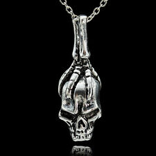 Men's Punk Retro Cool 925 Silver Skull Necklace Pendant Jewelry Gift