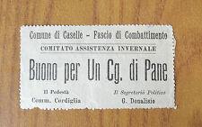BUONO PER UN CG. DI PANE COMUNE CASELLE FASCIO COMBATTIMENTO CORDIGLIA SUBALPINA