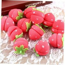12x Strawberry Balls Hair Care Soft Sponge Rollers Curlers Lovely DIY Tool GU