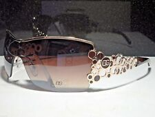 Womens Bubble DG Designer Eyewear Brown/Gold Sunglasses Celebrity Fashion Shades