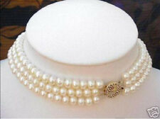 3 Strand 7-8MM White Pearl Choker Necklace 17-18-19 inch