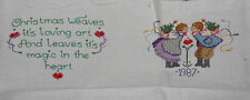 Finished Cross Stitch CHRISTMAS SAYING & PICTURE Completed Aida