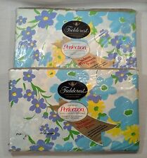 Fieldcrest Perfection Sheets FLOWER PLAID Percale Full Size Flat Fitted Vintage