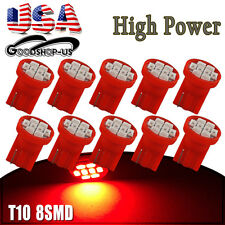 10X Red T10 Wedge 8SMD Dashboard Gauge Instrument LED Light Bulb W5W 158 168 192