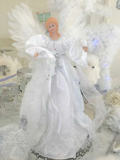 """16"""" Shabby Christmas White Sparkle Angel Tree /Table Topper Chic Decoration"""