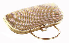 Candere Long Diamanté 23x6cm Gold Handle & Chain Clutch Bag(Cl36)