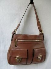 Womens JACOBS Thick Leather Shoulder Bag Handbag Satchel Saddle CAMEL BROWN Hobo