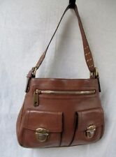 MARC JACOBS Thick Leather Shoulder Bag Handbag Satchel Saddle CAMEL BROWN Hobo
