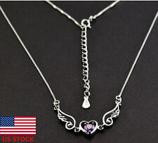 Women Jewelry Angel Wings Lovers Heart-shaped Necklace Pendant Silver Necklaces