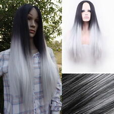 Sexy Women Long Straight Wig Hair Heat Resistant Black Ombre Grey Party Wigs