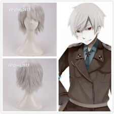Axis Powers Hetalia APH Prussia Short silver Grey Cosplay Hair Wig +free wig cap