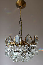 Brass Pendant Antique French Vintage Crystal Chandelier Old Lamp 1950's Lighting