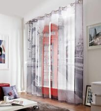 LONDON STREET PHONE BOX 58X90 RING TOP CURTAINS #RETSNIMTSEW *AS*