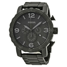 Fossil Nate Chronograph Black Dial Black Ion-plated Mens Watch JR1401