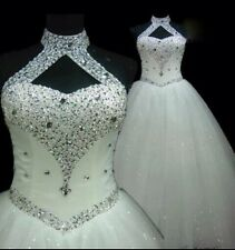 UK Sexy Halter White/Ivory Crystal Wedding Dress Bridal Ball Gown Size 6-18