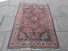 Antique Old Traditional Persian Rug Wool Pink Oriental Hand Made Rug 182x124cm