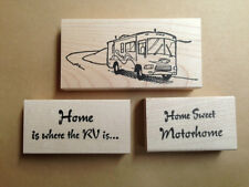 Mounted Rubber Stamps, Motor Home Stamps Set, Travel, RV Park, Vacation, Camping