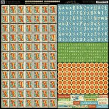 "Graphic 45 Mother Goose 12""x12"" Die-cut Cardstock Alphabet Stickers 4500761"