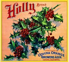 Covina Los Angeles Christmas Holly #1 Orange Citrus Fruit Crate Label Art Print