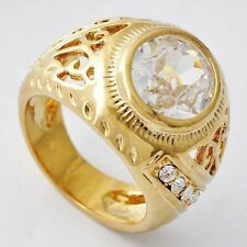 fashion jewelry Womens Yellow Gold Plated Clear CZ vintage Ring size 7