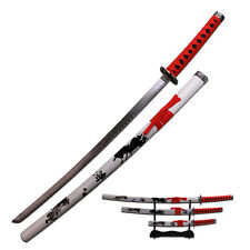 3 Piece White Samurai Warrior Katana Swords Sword Set # 79-4