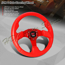 320MM JDM Red PVC Leather Red Stitch Spoke 6-Hole JDM Steering Wheel Universal 3