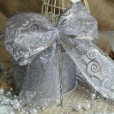 Wired Silver Glitter Swirl Patterned Ribbon. Christmas, Hamper, Bow Cake Wedding