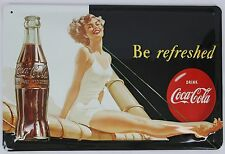 """Heart Of Ireland Embossed Metal 8""""x12"""" Sign Coca-Cola """"Be Refreshed"""""""