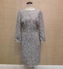 JCREW Long sleeve mulicolored dress with fringe 4P petite $178 e9921 Navy tweed